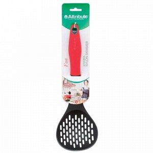 """Шумовка для кухни, пищевой термостойкий пластик, цветная рукоятка, подвес, """"Fun"""", ATTRIBUTE, ATV811"""