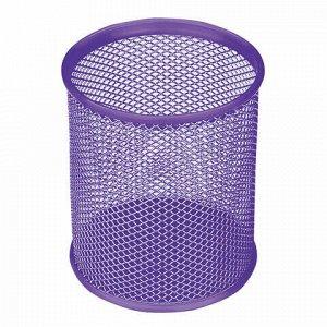 """Подставка-органайзер BRAUBERG """"Germanium"""", металлическая, круглое основание, 100х89 мм, фиолетовая, 231981"""