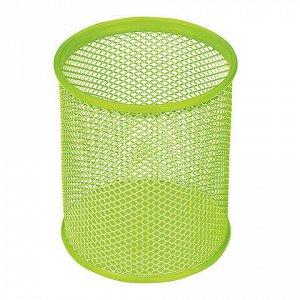 """Подставка-органайзер BRAUBERG """"Germanium"""", металлическая, круглое основание, 100х89 мм, светло-зеленая, 231982"""