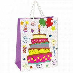 """Пакет подарочный 26x12,7x32,4 см, ЗОЛОТАЯ СКАЗКА """"Именинный торт"""", ламинированный, 606592"""