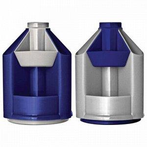 """Подставка-органайзер СТАММ """"Mini Desk"""", вращающаяся, 107х107х140 мм, 10 отделений, серый металлик/темно-синий, ОР90"""