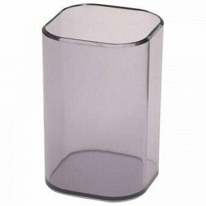 "Подставка-органайзер СТАММ ""Визит"" (стакан для ручек), 70х70х100 мм, тонированная серая, СН35"