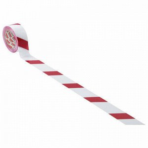 "Лента сигнальная красно-белая, 50 мм х 200 м, BRAUBERG ""Грандмастер"", основа полиэтилен, 604890"