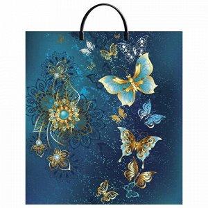 """Пакет с пластиковой ручкой ПВД, 44х40 см, """"Золотые бабочки"""", 100 мкм, н00118004"""