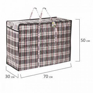 Сумка-баул хозяйственная, полипропилен, 70х50х30 см,105 литров, черно-красная, 170 г/м2, ЛЮБАША, 604703