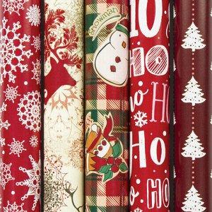 """Бумага упаковочная новогодняя 70х100 см ЗОЛОТАЯ СКАЗКА """"Red Collection"""", 5 дизайнов, 70 г/м2, 591582"""