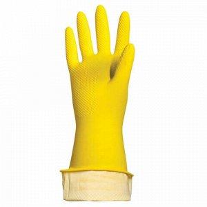 """Перчатки хозяйственные латексные ЛАЙМА """"Люкс"""", МНОГОРАЗОВЫЕ, хлопчатобумажное напыление, плотные, размер M (средний), 600555"""