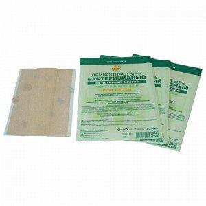 Лейкопластырь бактерицидный LEIKO комплект 100 шт., 6х10 см, на нетканой основе, телесного цвета, 213877