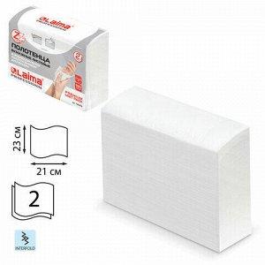 Полотенца бумажные (1 пачка 190 листов) LAIMA (H2) PREMIUM UNIT PACK, белые, 23х21 см, Z-сложение, 126559