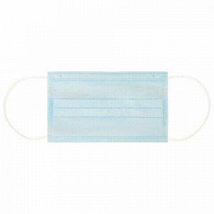 Маска одноразовая 1 шт., 3-х слойная, медицинская, SANITERRA, на резинке, голубая