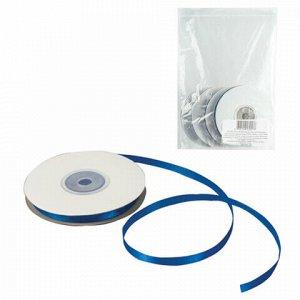 Лента обвязочная атласная для прошивки документов, СИНЯЯ, ширина 6 мм, КОМПЛЕКТ 4х25 м (100 м), +/- 5%, 602334