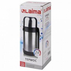 Термос LAIMA классический с узким горлом, 1,2 л, нержавеющая сталь, пластиковая ручка, 605125
