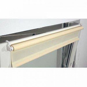 Штора рулонная BRABIX 55х175 см, текстура - лён, защита 55-85%, 200 г/м2, кремовый S-21, 605978
