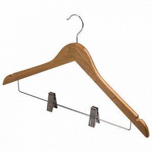 """Вешалки-плечики, размер 48-50, КОМПЛЕКТ 3 шт., деревянная, клипсы для брюк, цвет сосна, BRABIX """"Стандарт"""", 601170"""