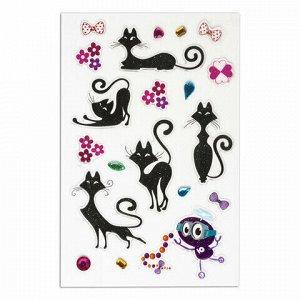 """Наклейки гелевые """"Изящные кошки"""", многоразовые, блестящие со стразами, 10х15 см, ЮНЛАНДИЯ, 661839"""