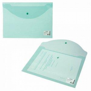 Папка-конверт с кнопкой STAFF, А4, до 100 листов, прозрачная, зеленая, 0,12 мм, 225171