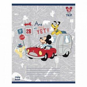"""Тетрадь 12 л., HATBER, клетка, обложка картон, """"Микки Маус-DISNEY"""" (5 видов в спайке), 12Т5В1"""