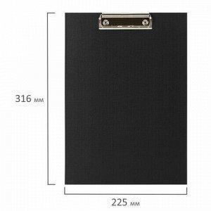"""Доска-планшет STAFF """"EVERYDAY"""" с прижимом А4 (225х316 мм), картон/бумвинил, РОССИЯ, черная, 229051"""