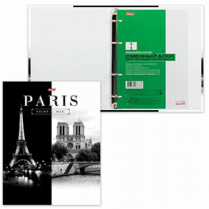 "Тетрадь на кольцах А5 (170х220 мм), 120 л., обложка ламинированный картон, клетка, HATBER, ""Париж"", 120ТК5B1_10506, T103135"