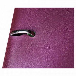 """Тетрадь на кольцах А5 (175х220 мм), 120 л., пластиковая обложка, клетка, с фиксирующей резинкой, HATBER """"METALLIC"""", бордовый, 334454, 120ТК5Вр1_03406"""