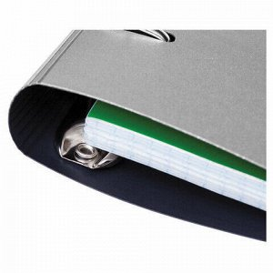 """Тетрадь на кольцах А5 (175х220 мм), 120 л., пластиковая обложка, клетка, с фиксирующей резинкой, HATBER """"METALLIC"""", серый, 334485, 120ТК5Вр1_03414"""