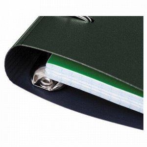 """Тетрадь на кольцах А5 (175х220 мм), 120 л., пластиковая обложка, клетка, с фиксирующей резинкой, HATBER """"METALLIC"""", тёмно-зеленый, 334478, 120ТК5Вр1_03412"""