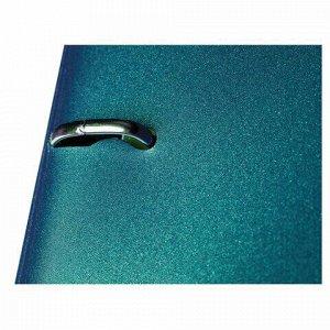 """Тетрадь на кольцах А5 (175х220 мм), 120 л., пластиковая обложка, клетка, с фиксирующей резинкой, HATBER """"METALLIC"""", тёмно-синий, 334461, 120ТК5Вр1_03411"""