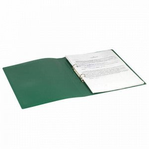 Папка на 2 кольцах STAFF, 21 мм, зеленая, до 170 листов, 0,5 мм, 225719