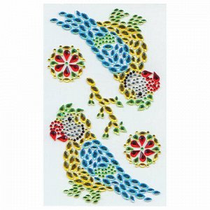 Наклейки готовые из страз ПОПУГАЙ, 5 декоративных элементов, 9,5 х 15,5 см, ОСТРОВ СОКРОВИЩ, 661566