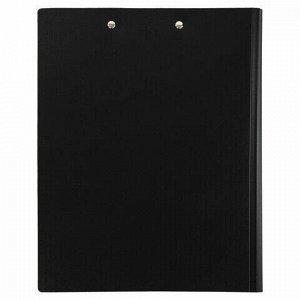 Папка-планшет STAFF, А4 (310х230 мм), с прижимом и крышкой, пластик, черная, 0,5 мм, 229221