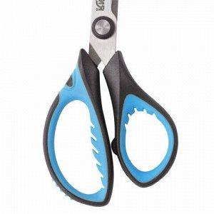 """Ножницы ЮНЛАНДИЯ """"BASIC"""", 155 мм, ребристые резиновые вставки, черно-голубые, европодвес, 236991"""