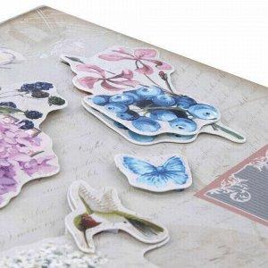 Наклейки бумажные объемные для скрапбукинга и декора ЦВЕТЫ, 6 штук, ОСТРОВ СОКРОВИЩ, 662274