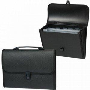 Папка-портфель пластиковая STAFF А4 (330х235х50 мм), 7 отделений, с окантовкой, индексные ярлыки, черный, 221206