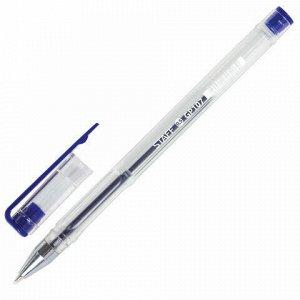 """Ручка гелевая STAFF """"Basic"""", СИНЯЯ, корпус прозрачный, хромированные детали, узел 0,5 мм, линия письма 0,35 мм, 142788"""