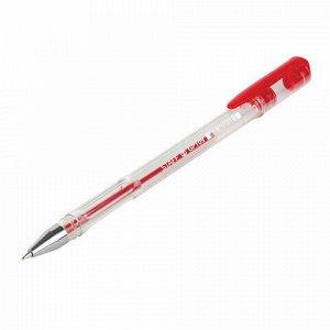 """Ручка гелевая STAFF """"Basic"""", КРАСНАЯ, корпус прозрачный, хромированные детали, узел 0,5 мм, линия письма 0,35 мм, 142790"""