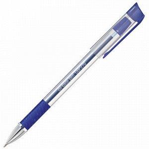 """Ручка шариковая масляная с грипом STAFF """"Profit"""", СИНЯЯ, корпус прозрачный, 0,7 мм, линия письма 0,35 мм, 142982"""