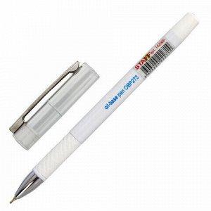 """Ручка шариковая масляная с грипом STAFF """"Profit Chrome-X"""", СИНЯЯ, корпус белый, хромированные детали, узел 0,7 мм, линия 0,35 мм, 142985"""
