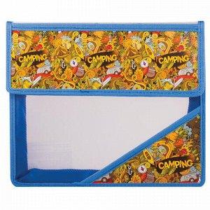 """Папка для тетрадей А5, пластиковая на липучке, с рисунком на уголке, """"Кемпинг"""", 226555"""