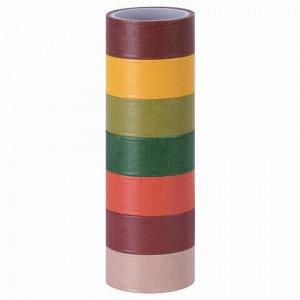 """Клейкие WASHI-ленты для декора """"ИНТЕНСИВ"""", 7 теплых цветов, 15 мм х 3 м, рисовая бумага, ОСТРОВ СОКРОВИЩ, 661698"""