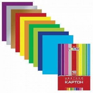 """Картон цветной А4 2-сторонний МЕЛОВАННЫЙ, 10 листов 10 цветов, папка, HATBER, 195х280 мм, """"Creative"""", 10Кц4 05934, N138007"""