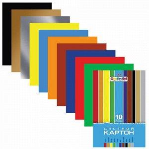 """Картон цветной А4 МЕЛОВАННЫЙ, 10 листов 10 цветов, в папке, HATBER, 195х280 мм, """"Creative"""", 10Кц4 05809, N049600"""