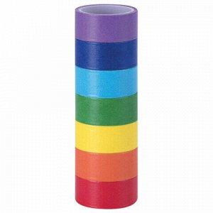 Клейкие WASHI-ленты для декора РАДУЖНЫЕ, однотонные, 15 мм х 3 м, 7 цветов, рисовая бумага, ОСТРОВ СОКРОВИЩ, 661702