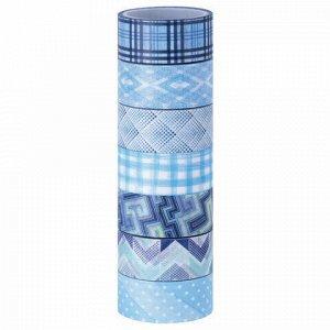 Клейкие WASHI-ленты для декора ОТТЕНКИ СИНЕГО, 15 мм х 3 м, 7 цветов, рисовая бумага, ОСТРОВ СОКРОВИЩ, 661703