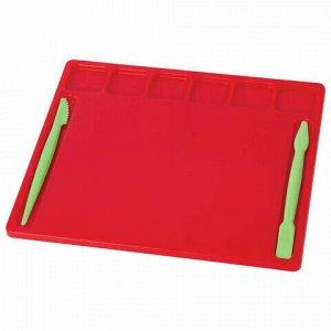 Доска для лепки А5, 200х170 мм, ЮНЛАНДИЯ, ассорти, 6 отделений для пластилина, 2 стека, 227398