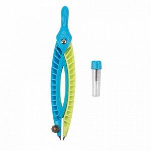 Готовальня ЮНЛАНДИЯ, 2 предмета: пластиковый циркуль 120 мм, грифель, пенал, 210656