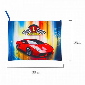 """Папка для тетрадей BRAUBERG, А4, 1 отделение, ткань, молния сверху, """"Best Racer"""", 229405"""