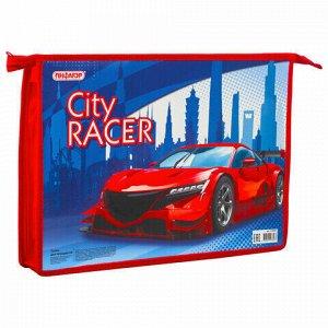 """Папка для тетрадей ПИФАГОР А4, 1 отделение, картон, молния сверху, """"CITY RACER"""", 229094"""