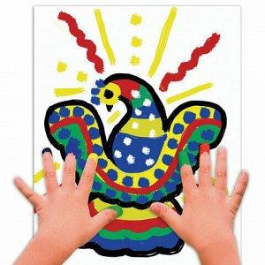 """Краски пальчиковые ЮНЛАНДИЯ """"САФАРИ"""", 6 цветов по 35 мл, в баночках, ВЫСШЕЕ КАЧЕСТВО, 191339"""