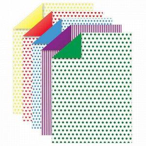 Картон цветной А4 2-сторонний МЕЛОВАННЫЙ, на обороте РИСУНОК, 5 листов, 5 цветов, ЮНЛАНДИЯ, 200х290 мм, АССОРТИ, 111323