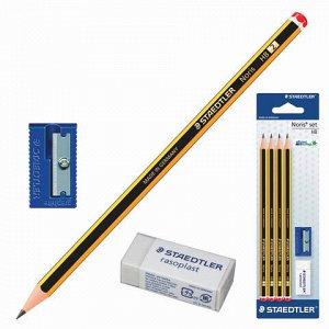 Набор STAEDTLER (Германия), карандаши чернографитные 4 шт. (НВ), резинка стирательная, точилка, 120S1 BK4D11